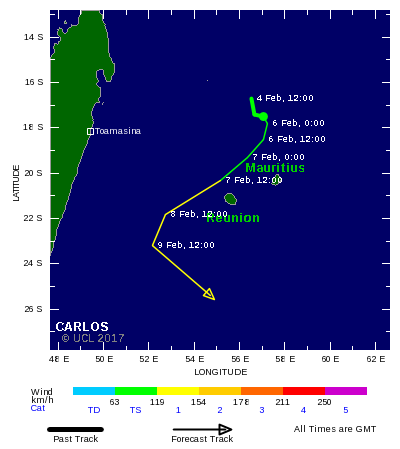 Tropical storm Carlos is forecast to strike Reunion as a ...