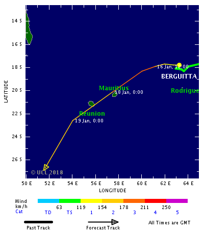 Tropical cyclone Berguitta is forecast to strike Mauritius